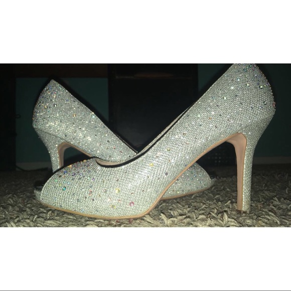 PROM? Open toed, sparkly silver, high heels
